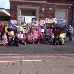 School-children-protesting-against-closure-Cleveleys-Thornton-Libraries